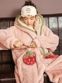 睡衣睡衣女春秋冬季款珊瑚絨可愛連體加厚法蘭絨學生卡通動漫家居服全館全省免運