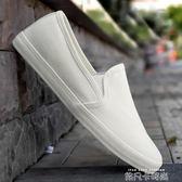 春夏新款帆布鞋純色懶人鞋白色低幫男鞋女鞋情侶一腳登板鞋小白鞋