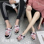 夏季情侶款休閑涼鞋英倫風情侶壹字拖鞋男女涼鞋