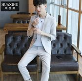 西服套裝男修身韓版帥氣潮外套學生五分七分袖夏季薄款休閒小西裝igo