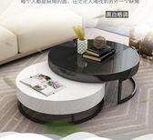 現代簡約茶幾創意整裝個性黑白圓形北歐小戶型客廳茶幾電視柜組合