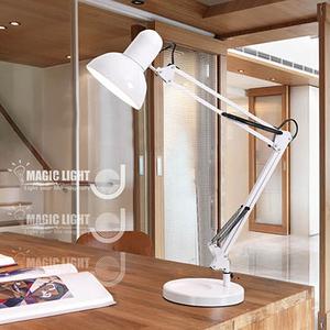 【光的魔法師 Magic Light】美式檯燈 簡約白(桌、夾兩用)
