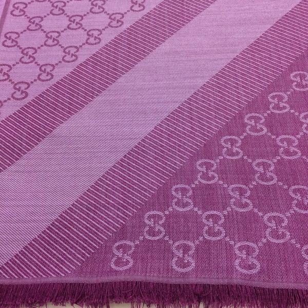 GUCCI全新真品 雙G緹花雙色 方巾/圍巾/披肩 (紫紅色 / 灰白色 ) ~現貨特價