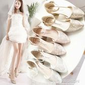 水晶鞋婚鞋女2018新款粗跟水鑚新娘鞋銀色高跟白色中跟婚紗伴娘鞋·Ifashion