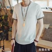 居士服 夏季薄款寬松民族風仿亞麻短袖T恤男中式上衣居士服休閒半袖 aj2088『美鞋公社』
