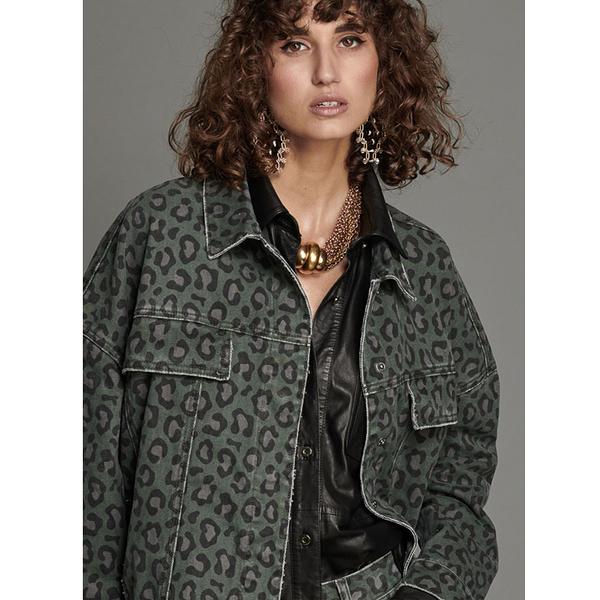 ONETEASPOON  LEOPARD NIGHT CRAWLER OVERSIZED 牛仔夾克-豹紋(女)