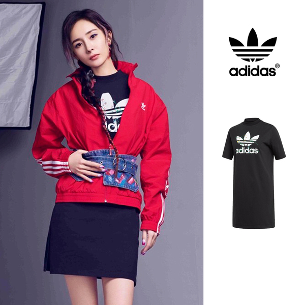 【GT】Adidas Originals 黑 洋裝 女款 楊冪 純棉 運動 休閒 花卉 短袖 長版 連身裙 愛迪達 三葉草