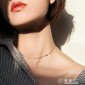 S925純銀項鍊女鎖骨鍊短款chic頸鍊鎖骨個性簡約小銀豆choker頸帶   電購3C