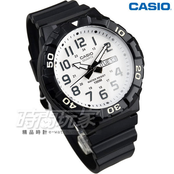 CASIO卡西歐 MRW-210H-7A 旋轉計時 潛水錶 三針運動錶 黑白 男錶 數字錶 指針錶 MRW-210H-7AVDF