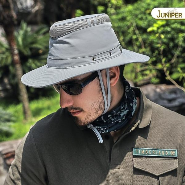 渔夫帽 帽子男戶外防紫外線遮陽帽大檐登山透氣盆帽釣魚帽防曬漁夫牛仔帽