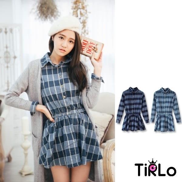 洋裝-Tirlo-車線格紋縮腰牛仔洋裝-兩色