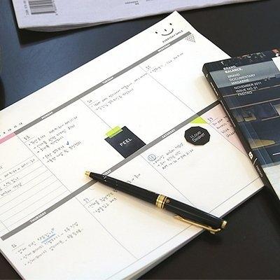 【發現。好貨】韓國文具WEEKIY DESK NOTE PAD可撕A4桌面計劃本辦公周計劃大日程本記事本子方格子