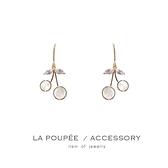 (現貨)銀針鍍金 可愛甜美小櫻桃耳環/耳鈎-La Poupee樂芙比質感包飾
