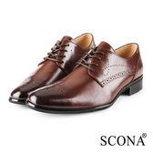 SCONA 蘇格南 全真皮 義式雕花綁帶紳士鞋 深棕色 0866-2