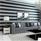地中海條紋牆紙黑白簡約無紡布壁紙臥室客廳電視背景牆壁紙兒童房