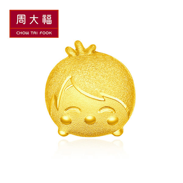 腦筋急轉彎-樂樂黃金耳環(單支) 周大福 TSUM TSUM系列