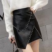 皮裙 皮裙女2021新款時尚釘珠高腰a字半身裙秋季不規則顯瘦包臀裙短裙 韓國時尚週