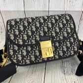 BRAND楓月 Christian Dior 迪奧 藍緹花寬背帶側背包 翻蓋 金屬釦 LOGO 老花 肩背包 斜背包