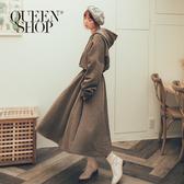 Queen Shop【01084796】MIT連帽刷毛縮腰洋裝 兩色售*現+預*
