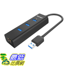 集線器 TeckNet Aluminum 3-Port USB 3.0 Hub with RJ45 10/100/1000 Gigabit Ethernet Adapter Converter_TB2