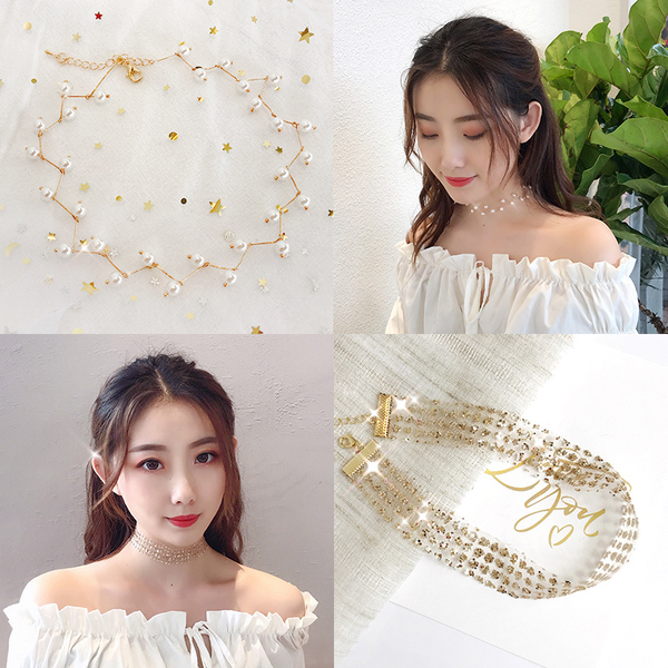 ins風珍珠項鏈韓國頸帶脖鏈項圈頸鏈網紅脖子飾品短款鎖骨鏈女