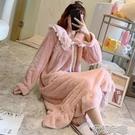 居家服睡衣珊瑚絨睡裙睡衣女秋冬季加厚法蘭絨可愛新款春天可外穿家 快速出貨