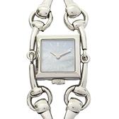 GUCCI 古馳 藍色母貝錶盤華麗馬銜雙鍊不銹鋼腕錶 116.5 SIGNORIA 【BRAND OFF】