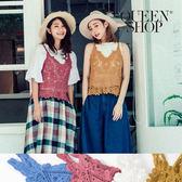 Queen Shop【01150062】鏤空繡花V領背心 四色售*預購*