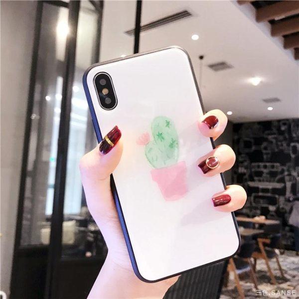 小清新蘋果X玻璃殼iphone7plus/8/6S/6手機殼全包軟殼女款8p創意