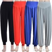 瑜伽服瑜伽褲子夏薄款莫代爾燈籠褲女運動瑜伽褲舞蹈服裝大碼長褲 漾美眉韓衣