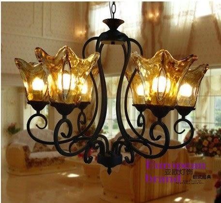 設計師美術精品館歐式鐵藝豪華茶色玻璃燈罩吊燈現代簡約創意田園風美式個性燈具