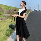 漂亮小媽咪 韓式 假兩件 洋裝 【D7631】 拼接 雪紡 短袖 開叉 長裙 孕婦裝 長洋裝 雪紡裙