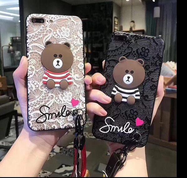 【SZ14】 OPPO A77手機殼 刺繡蕾絲棕色熊+掛繩 F1s/A59 手機殼 A57/A39/A37手機殼