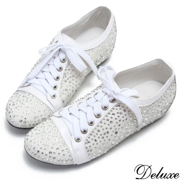 Deluxe-全真皮滿天星燙鑽綁帶休閒鞋-白