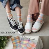 短襪 Space Picnic 正韓-拼色格紋中筒襪(現+預)【K20021017】