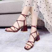 交叉綁帶涼鞋夏季新款粗跟仙女風高跟系帶歐洲站女鞋 QQ29648『MG大尺碼』