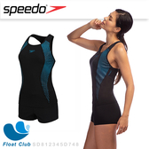 Speedo 女 運動連身兩截式平口泳裝 Placement 黑/北歐藍