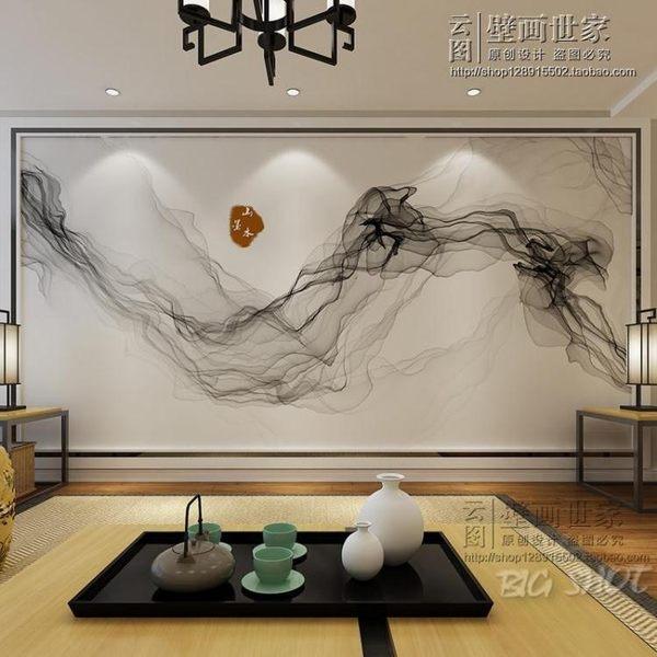 壁紙-電視背景墻壁紙客廳沙發床頭墻布玄關現代新中式抽象墻紙山水墨圖【大咖玩家】T1
