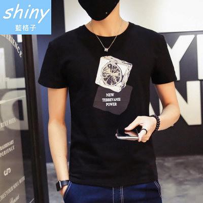 【Y132】shiny藍格子-休閒天地.夏季新款修身圓領短袖上衣
