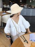 珍珍家 白色寬鬆V領喇叭袖娃娃衫女裝短款小清新上衣2018新款夏季 晴光小語