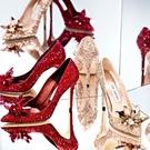 高跟鞋 灰姑娘水晶鞋好康新品尖頭高跟鞋細...