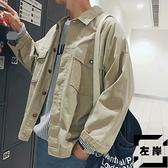 牛仔夾克男休閒韓版寬鬆工裝外套青年秋季【左岸男裝】