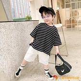男童短袖t恤童裝夏季兒童韓版條紋半袖寶寶洋氣韓版寬松t恤上衣潮【小獅子】