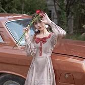 方領格子洋裝2020年新款設計感小眾法式復古小個子長袖裙子秋季 【現貨快出】