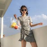 短袖洋裝-抽繩皺摺純色圓領連身裙2色73xk10[時尚巴黎]