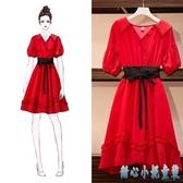 大碼紅色洋裝 女裝夏季新款胖MM洋氣顯瘦連身裙減齡藏肉中長款仙女裙子 DR34968【甜心小妮童裝】