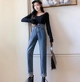 牛仔長褲垂感高腰牛仔褲女秋季新款復古韓版寬鬆顯瘦百搭直筒哈倫長褲 全館免運
