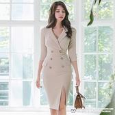 OL洋裝 裙子女秋冬韓版氣質西裝領輕熟風修身職業雙排扣連身裙 美物生活館