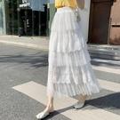 網紗裙網紗蛋糕裙2021春夏新款今年流行裙子半身裙女中長款仙女白色紗裙 雲朵