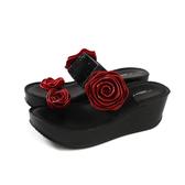 HUMAN PEACE 拖鞋式涼鞋 黑色 厚底 紅玫瑰 燙鑽 女鞋 11680-41 no022